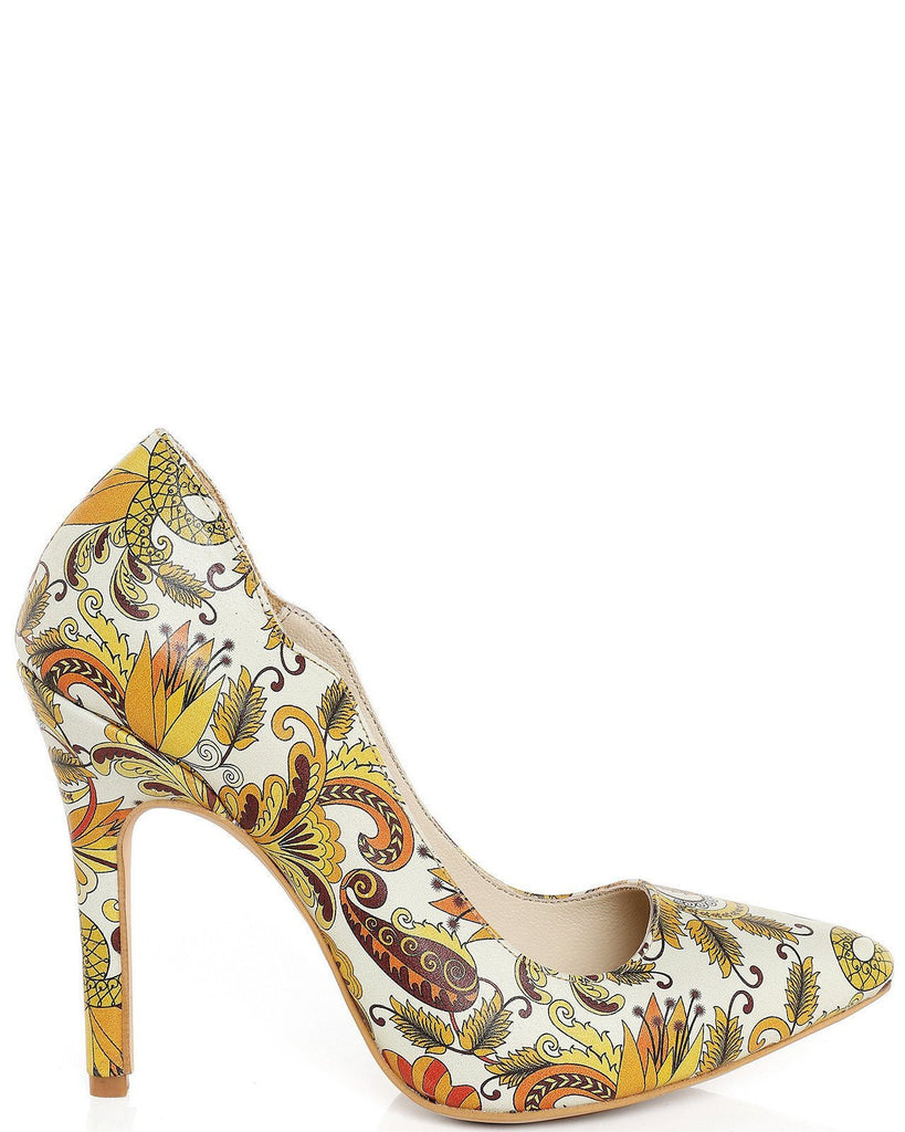 Scallop Edge Vintage Print Leather Pumps-Jezzelle