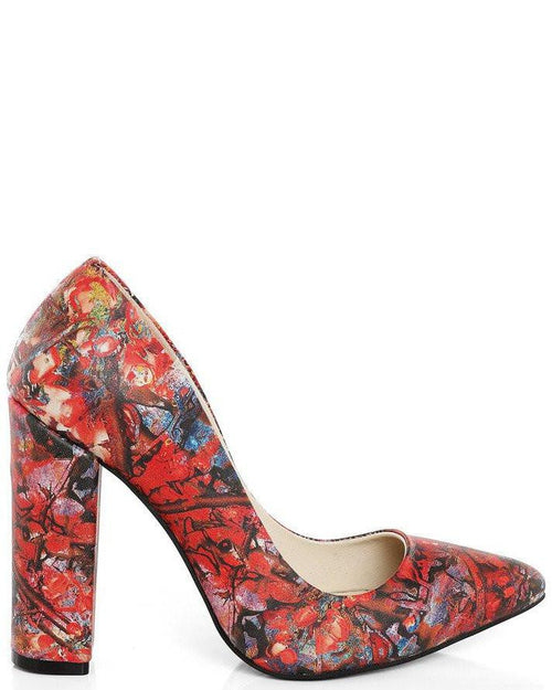 Mixed Print Block Heel Leather Pumps-Jezzelle