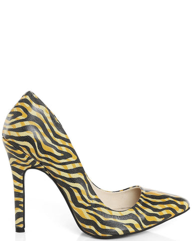 Tiger Print Leather Pumps