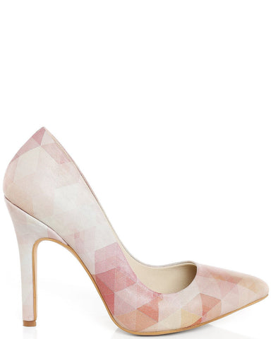Pink Cubic Print Leather Pumps