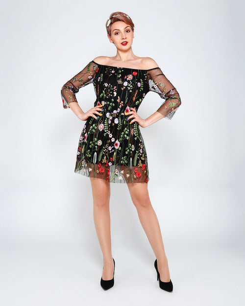 Embroidered Flower Mini Dress-Jezzelle