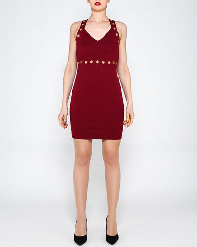 Eyelet Strap Wine Bodycon Dress - Jezzelle