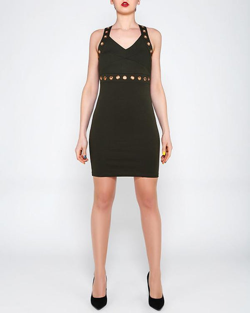 Eyelet Strap Khaki Bodycon Dress-Jezzelle