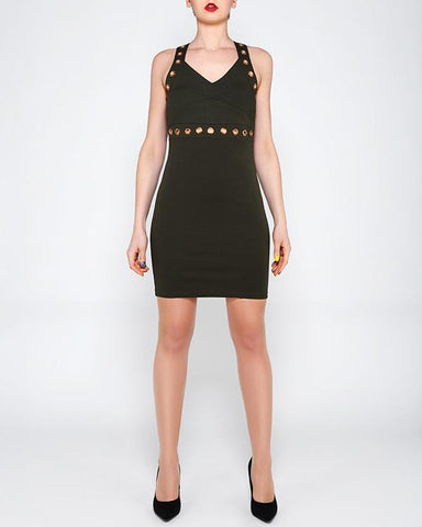 Eyelet Strap Khaki Bodycon Dress - Jezzelle