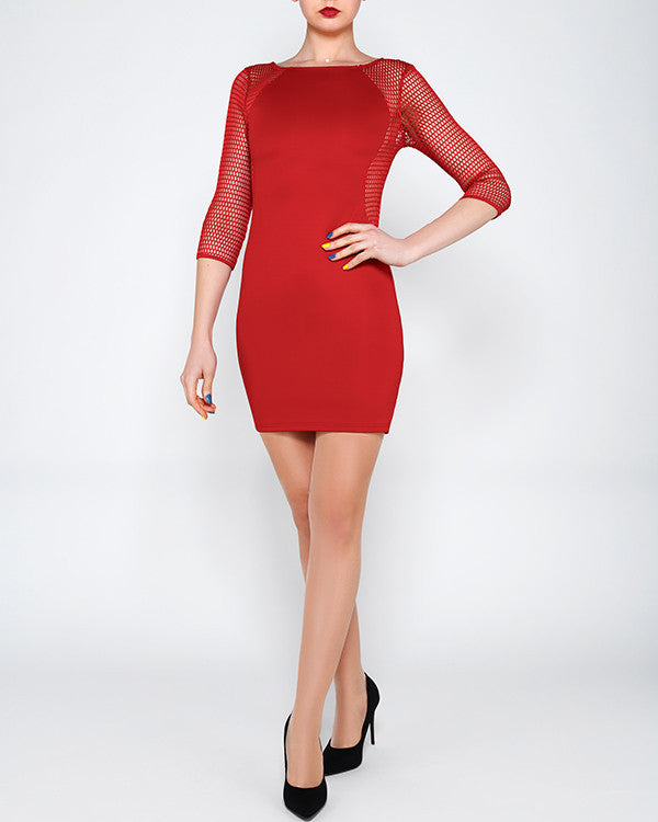 Mesh Panels Bodycon Dress-Jezzelle