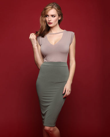 Khaki Stretch Pencil Skirt-Jezzelle