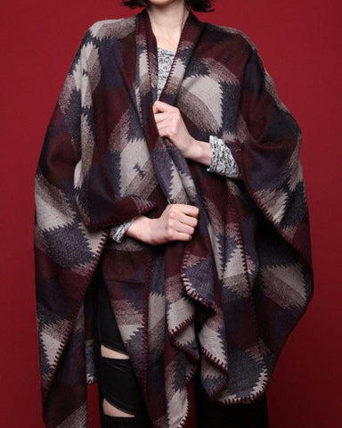 Grey Aztec Print Cape