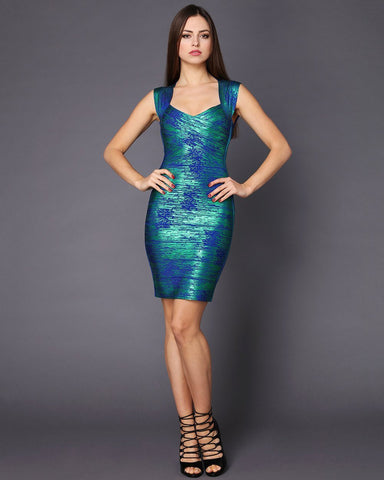 Turquoise Flake Pattern Bandage Dress-Jezzelle