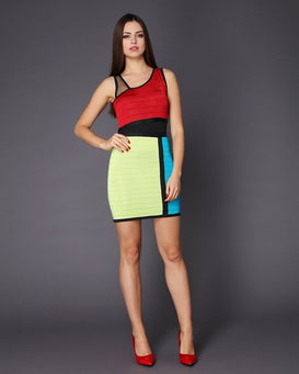 Color Blocks Bandage Mini Dress-Jezzelle