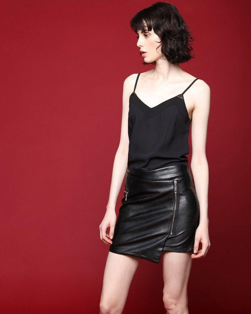 Faux leather wrap skirt-Jezzelle