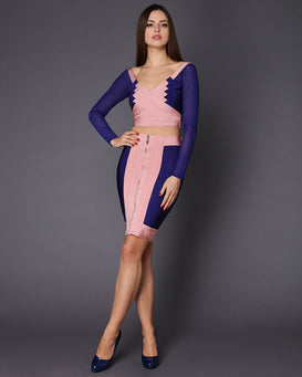 Blue & Pink Skirt Top Bandage Co-ord Set-Jezzelle