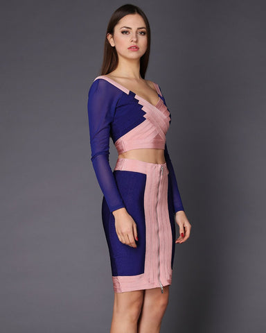 Blue & Pink Skirt Top Bandage Co-ord Set - Jezzelle