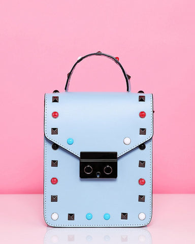 Studded Leather Blue Shoulder Bag - Jezzelle