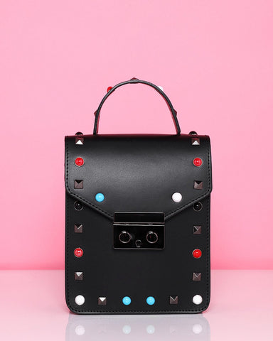 Studded Leather Black Shoulder Bag - Jezzelle