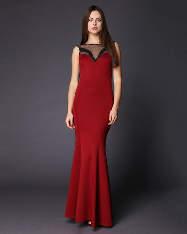 Sheer V-Neck Red Maxi Dress-Jezzelle