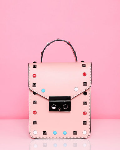 Studded Leather Nude Shoulder Bag - Jezzelle