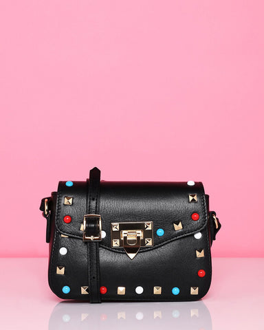 Studded Leather Small Shoulder Bag - Jezzelle