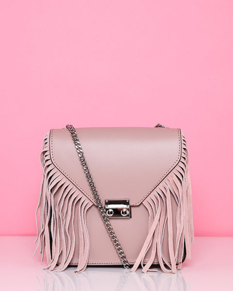 Fringe Genuine Leather Nude Bag - Jezzelle