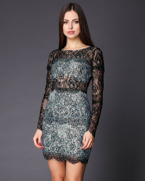Open Back Swarovski Encrusted Lace Dress-Jezzelle