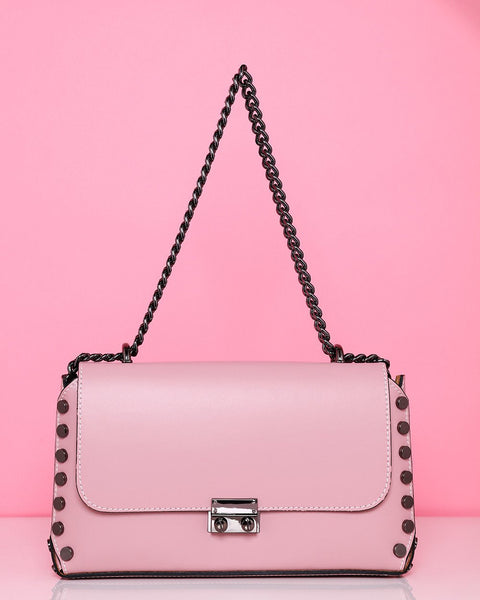Studded Leather Blush Shoulder Bag-Jezzelle