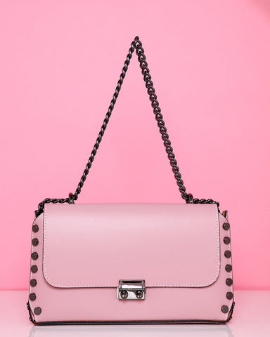 Studded Leather Blush Shoulder Bag - Jezzelle