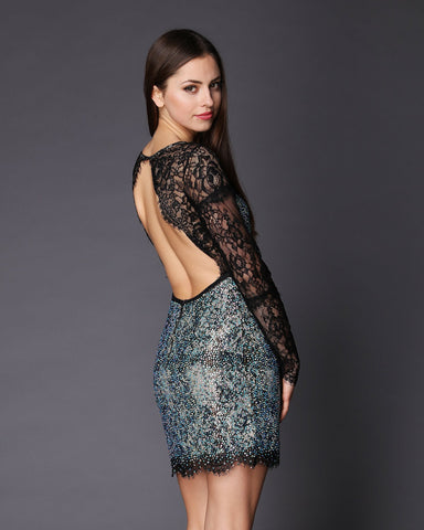 Open Back Swarovski Encrusted Lace Dress - Jezzelle