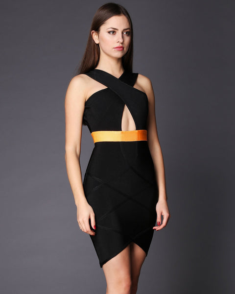 Cut Out Front Back Bandage Dress - Jezzelle
