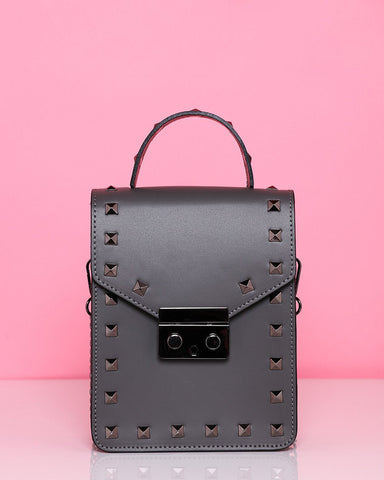 Studded Leather Grey Shoulder Bag - Jezzelle
