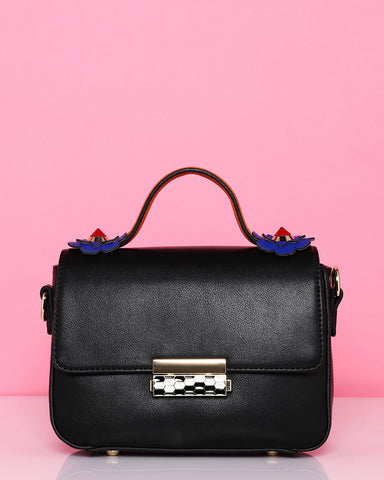 Flower Details Black Shoulder Bag-Jezzelle