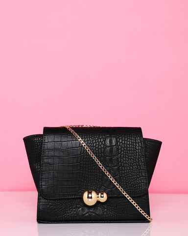 Croc Effect Black Mini Shoulder Bag - Jezzelle