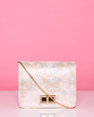 Snake Print Nude Mini Shoulder Bag - Jezzelle