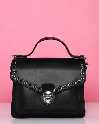 Black Small Satchel Shoulder Bag - Jezzelle