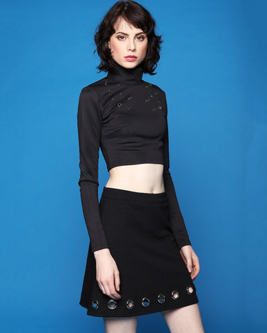 Eyelets Detail Polo Neck Crop Top