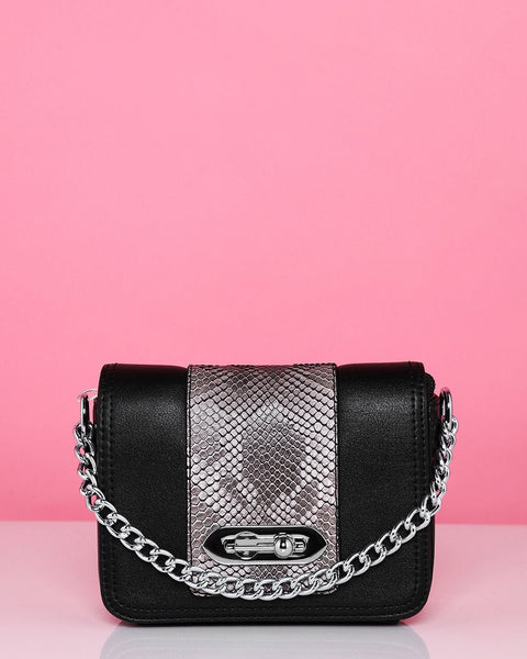 Snake Print Black Mini Shoulder Bag - Jezzelle