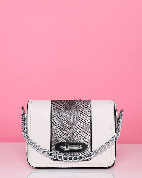 Snake Print White Mini Shoulder Bag-Jezzelle