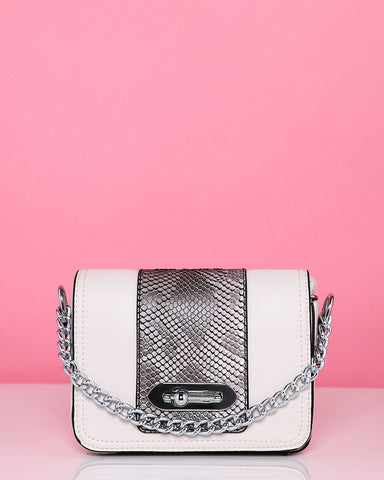 Snake Print White Mini Shoulder Bag - Jezzelle