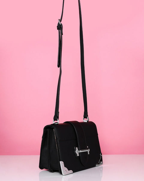 Metal Corners Black Shoulder Bag-Jezzelle
