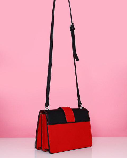 Metal Corners Red Shoulder Bag-Jezzelle