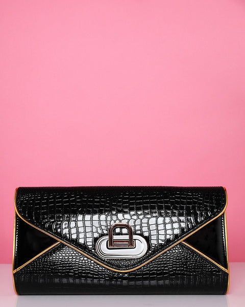 Gold Trim Croc effect Clutch Bag - Jezzelle