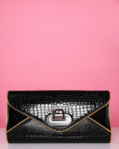 Gold Trim Croc effect Clutch Bag-Jezzelle