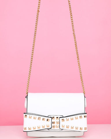 Studded Bow White Shoulder Bag-Jezzelle