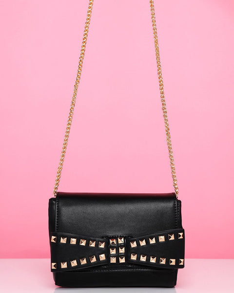 Studded Bow Black Shoulder Bag - Jezzelle