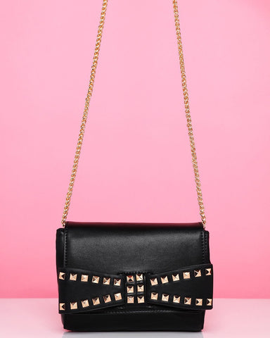 Studded Bow Black Shoulder Bag-Jezzelle
