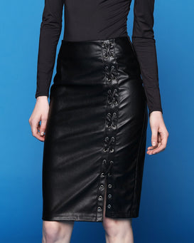 Faux Leather Lace Up Midi Skirt-Jezzelle
