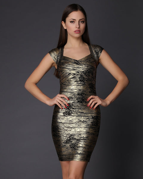 Gold Flake Pattern Bandage Dress - Jezzelle