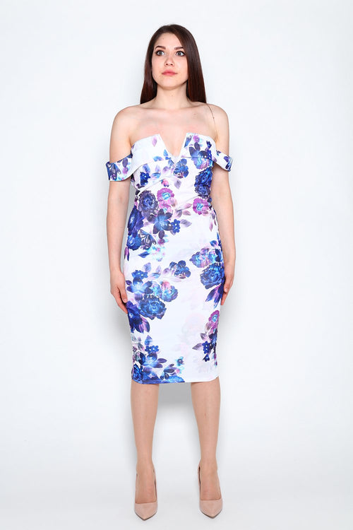 Floral Off Shoulder Bodycon Midi Dress-Jezzelle