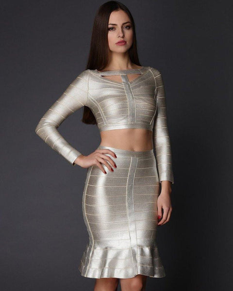 Ivory Shimmer Skirt Co-ord Set-Jezzelle