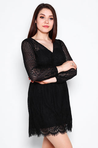 Black Lace V Neck Cocktail Dress-Jezzelle
