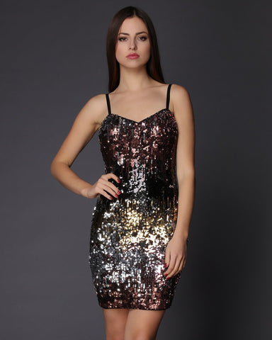 Multicolour Sequins Embellished Mini Dress - Jezzelle