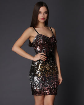 Multicolour Sequins Embellished Mini Dress-Jezzelle
